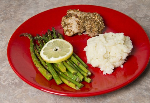 Mashed Cauliflower, Dukkah Chicken and Roasted Asparagus
