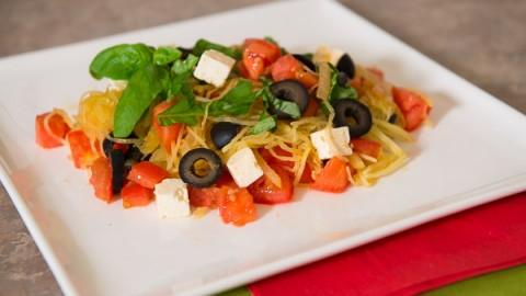 Spaghetti Squash with Tomatoes, Olives and Feta
