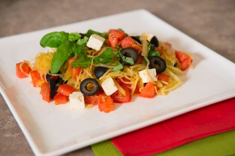 Spaghetti Squash with Tomatoes, Olives and Feta