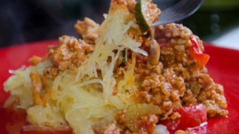 Turkey and Veggies Marinara Sauce with Spaghetti Squash