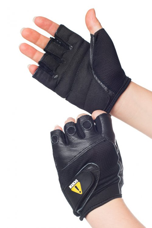 UCGYM women black leather workout gloves