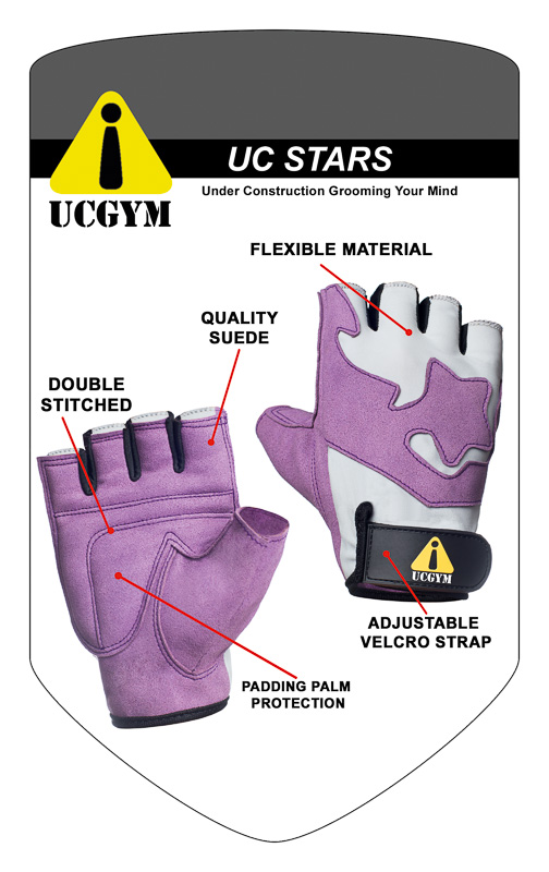 UCgym UC Stars Purple Girls Workout Gloves