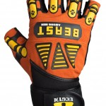 Beast among men workout gloves by UCGYM orange and yellow