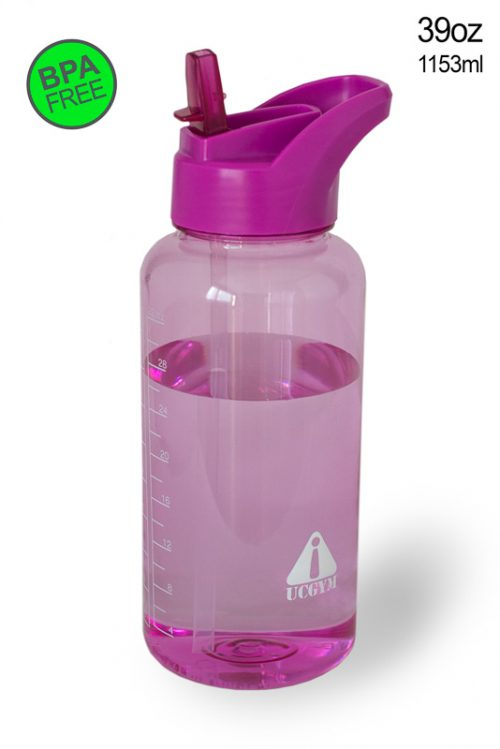 Pink Water bottle with straw, bite valve and handle