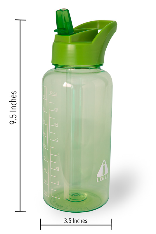 Water bottle with straw, bite valve and handle