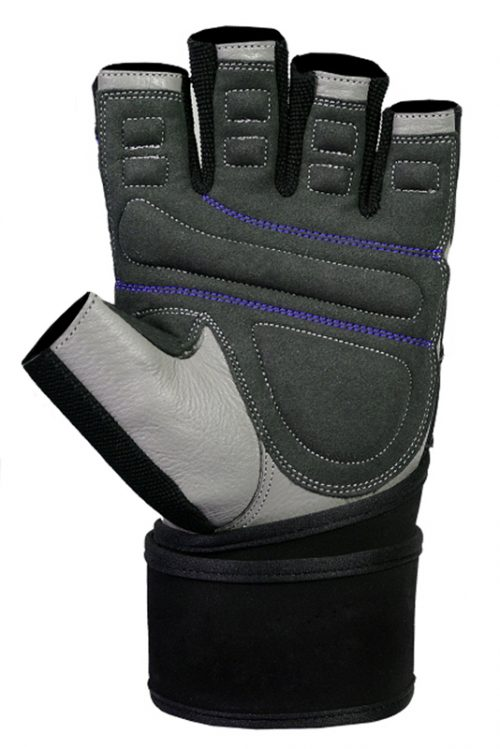 Ucgym leather workout gloves with wrist wraps blue