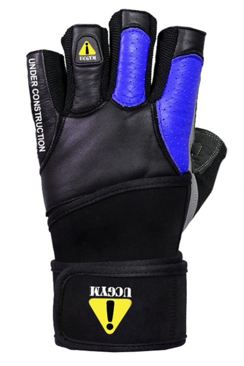Ucgym blue leather workout gloves with wrist wraps