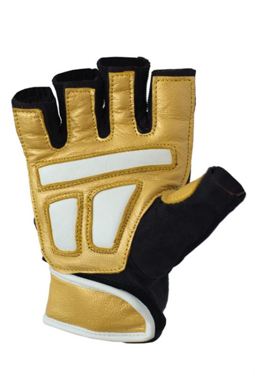women gold leather workout gloves