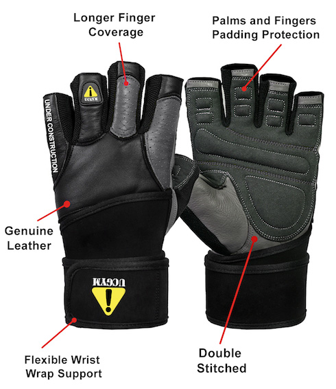 Ucgym grey leather workout gloves with wrist wraps